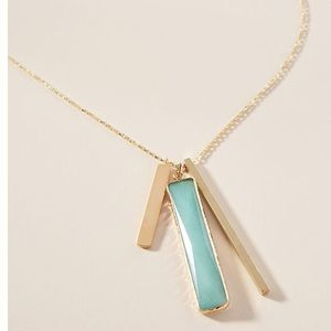 NWT Anthropologie Linear Pendant Necklace Mint